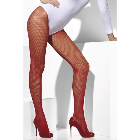 Fishnet Tights One Size - Red