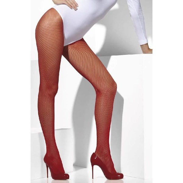 Fever/Smiffys Fishnet Tights One Size - Red