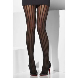 Fever/Smiffys Sheer Tights - Black with Vertical Stripes - One Size