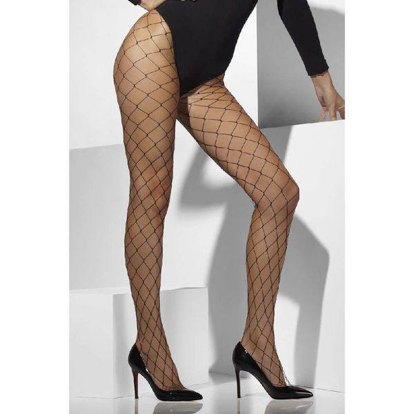 Fever/Smiffys Diamond Net Tights - Black