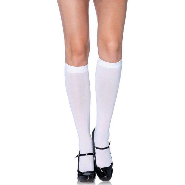 Leg Avenue Nylon Knee Hi White - One Size