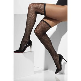 Fever/Smiffys Thigh High Fishnet Hold-Ups - Black