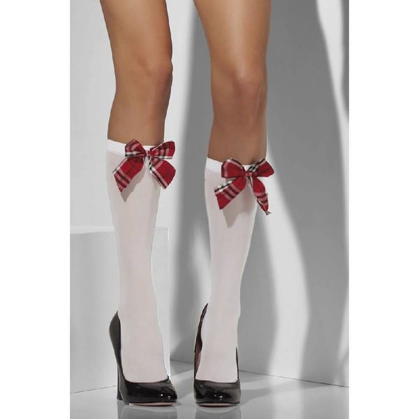 Fever/Smiffys Opaque Knee High Socks - White With Tartan Bow