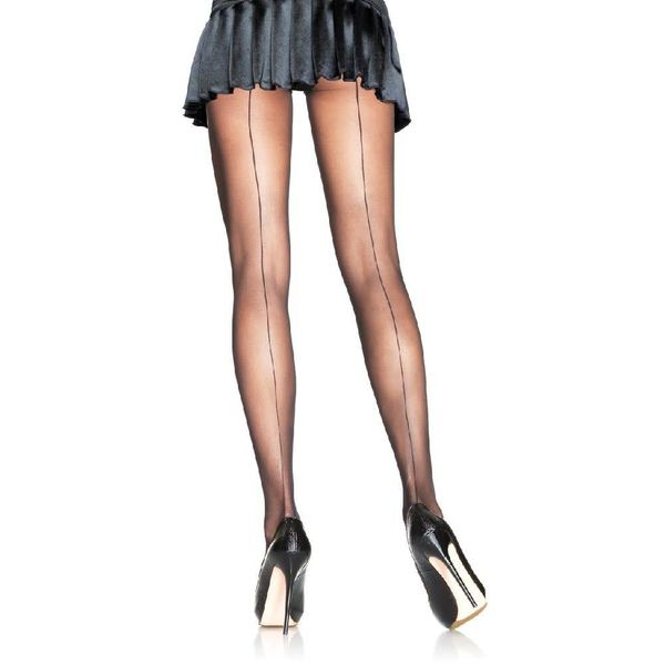 Leg Avenue Sheer Backseam Pantyhose Black - Queen