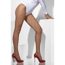 Fever/Smiffys Diamond Net Tights - Red
