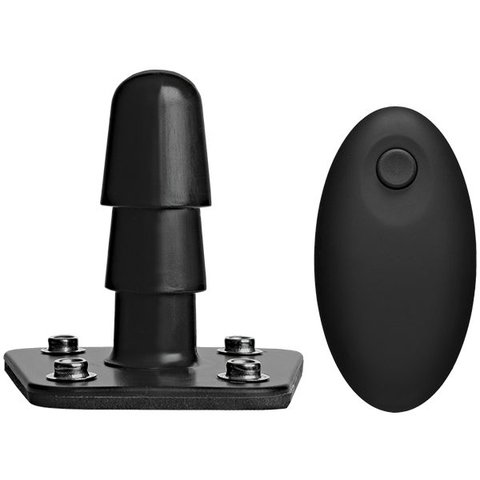 Vac-U-Lock Vibrating Plug With Snaps & Remote - Black