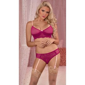 Exposed Cranberry Lace Bralette and Gartered Panty Set
