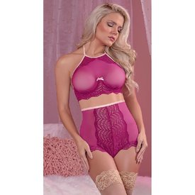 Exposed Mesh and Lace Halter Bralette and High Waist Panty - Curvy/Plus