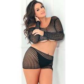 Rene Rofe Two-piece Quarter Crochet Set Black - Curvy