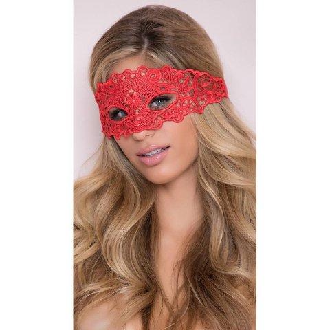 Lace Eye Mask w/Satin Ribbon Ties Red O/S