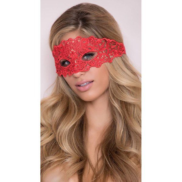 Seven 'til Midnight Lace Eye Mask w/Satin Ribbon Ties Red O/S