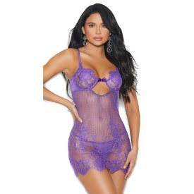 Elegant Moments Mesh and Floral Lace Chemise