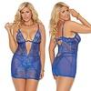 Deep V  Sassy Lace Chemise Curvy - Royal Blue