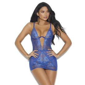 Elegant Moments Deep V  Sassy Lace Chemise - Royal Blue
