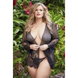 Oh La La Cheri Striped Sheer Eyelash Lace Robe - Curvy