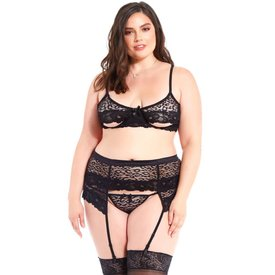 iCollection Leopard Mesh and Lace Bra Set - Curvy