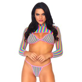 Leg Avenue Rainbow Fishnet Three Piece Set