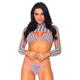 Leg Avenue Rainbow Fishnet Three Piece Set