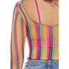 Rainbow Fishnet Long Sleeved Crop Top
