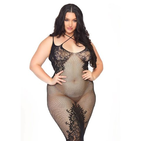 Seamless Net and Lace Gown - Curvy