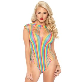Leg Avenue Rainbow Shredded Opaque Cut Out Teddy