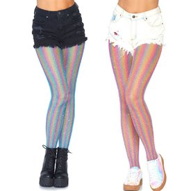 Leg Avenue Shimmer Rainbow Lurex Striped Fishnet Tights