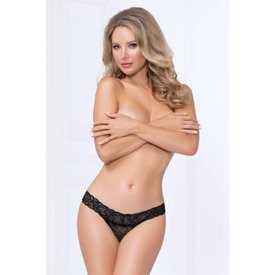Seven 'til Midnight Wide Lace Thong - Black