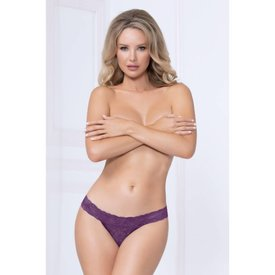 Seven 'til Midnight Wide Lace Thong - Purple