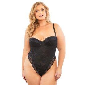 Oh La La Cheri High Leg All Over Lace Bodysuit - Curvy