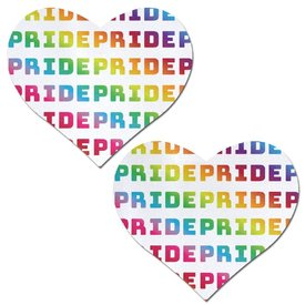 Pastease White Rainbow Pride Heart Pasties