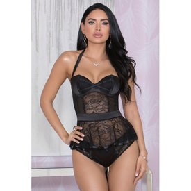 iCollection Satin Mesh and Lace Bustier