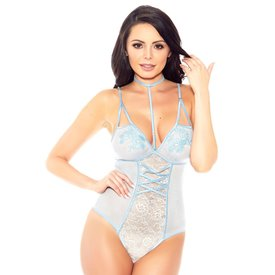 iCollection Mesh and Floral Lace Choker Teddy
