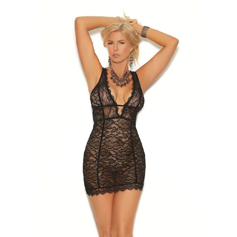 Empire Waist Eyelash Lace Chemise - Curvy