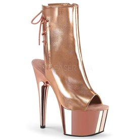 "Pleaser Rose Gold Lace Up Ankle Boot 7"" Heel"
