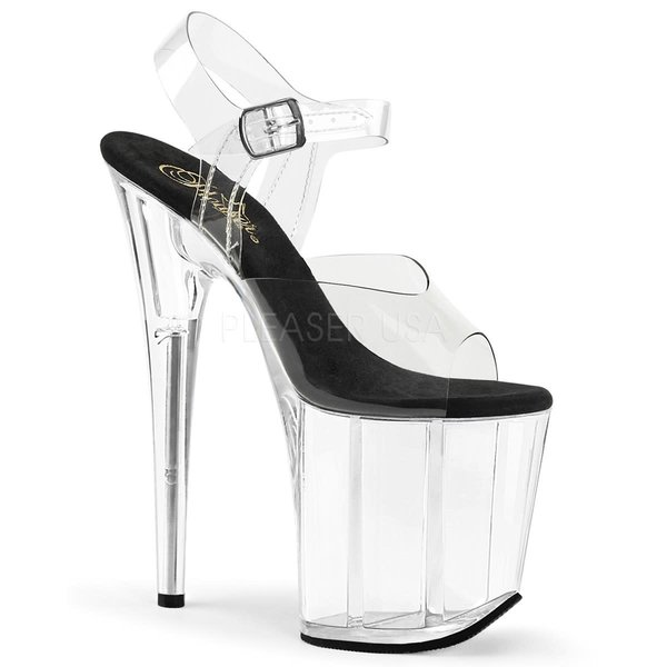 "Pleaser Clear Strap Clear Heel 8"" Stiletto"