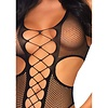 Fishnet Cut Out Crotchless Teddy with Thigh Highs