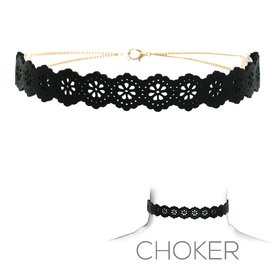 Groove Black Leather Choker with Snowflake Design