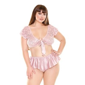 Fantasy Lingerie Satin and Lace Tie Front Top and Tap Pant - Curvy