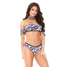 Fantasy Lingerie Floral Crop Top, Panty and Choker Set