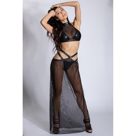 Midnight Ballerina Double Strap Long Mesh Skirt with Twinkle Trim