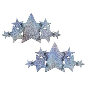 Pastease Silver Glitter Stars Breast Cover Pasties