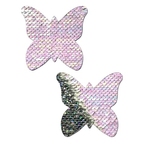 Pearl to Silver Sequin Flip Butterfly Pasties