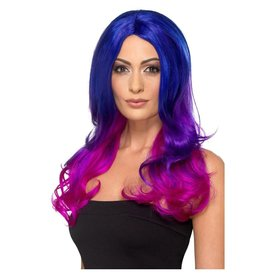 Fever/Smiffys Long Blue and Pink Ombre Wig