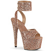 "Buckling Ankle Wrap Rose Gold Glitter 7"" Heel"