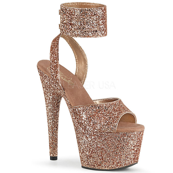"Pleaser Buckling Ankle Wrap Rose Gold Glitter 7"" Heel"