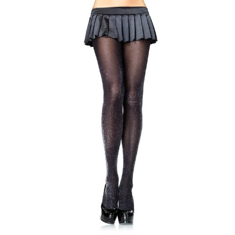 Glitter Lurex Tights Silver/Black - One Size