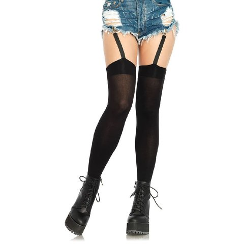 Opaque Thigh High Stockings With Garters
