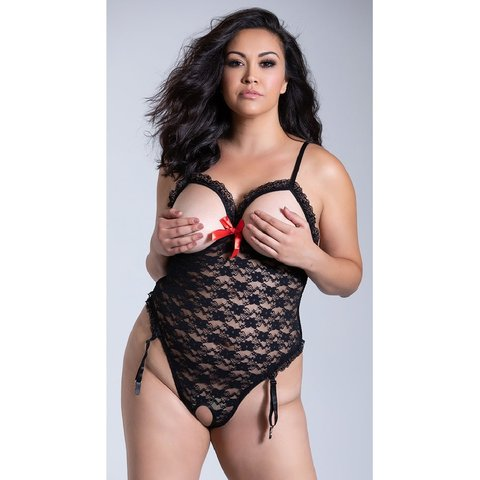 Lace Cupless and Crotchless Teddy - Curvy