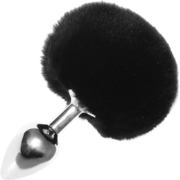 Sportsheets Silver Metal Bunny Tail Plug - Black Puff