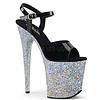 "Patent Black Ankle Strap 8"" Silver Glitter Heel Platform"